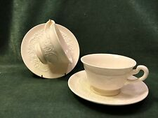 "2 WEDGWOOD  ENGLAND ""PATRICIAN"" CUPS AND SAUCERS-OFF  WHITE-USA Destination"