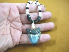 "(s228-19) 1-5/8"" fossil Megalodon shark Tooth onyx + aceh bovine bone Necklace"