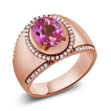 3.49 Ct Oval Pink Mystic Topaz 18K Rose Gold Plated Silver Men's Ring
