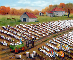 primitive folk art prints cotton field peidmont wagon NC Arie Taylor