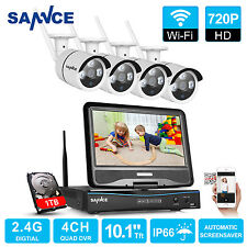 SANNCE Wireless 4CH 720P LCD Monitor NVR IP Network IR Security Camera System 1T