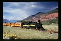 Rio Grande D&RGW Steam Engine at Silverton, CO in 1974, Original Slide aa 4-29a