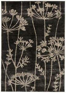Floral Pattered Floor Rug Grey Contemporary Carpet Mat Shaggy Soft Thick Pile