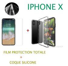 Pellicola Integrale Totale per IPHONE X + Guscio di silicone trasparente
