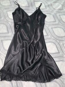 "Vtg Oily Slippery Satin Lacy Full Slip Dress Nightgown Chemise 42 "" L Negligee"