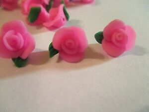 85  Pink Flowers 10 mm Fimo Clay  Flower  Beads F88