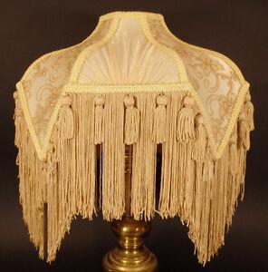 Brand New Beige Bridge Victorian Fringed Uno Fabric Poly Blend Lamp Shade #797B