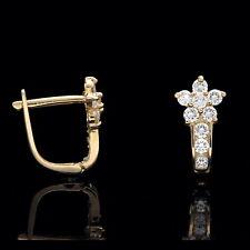 0.50Ct Created Diamond Cluster Flower Lever-back Earrings 14k Yellow Gold