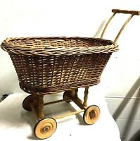 Vintage Doll Baby Carriage Buggy Baby Wicker/Rattan Wood Wheels West Germany