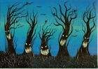 ACEO Original Acrylic Whimsical Spooky Creepy Trees Forest Painting Art HYMES