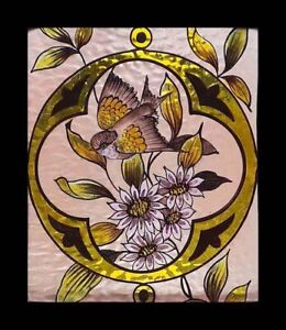 Beautiful Rare Painted Bird In Blossom English Antique Stained Glass Window