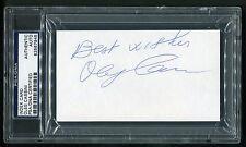 OLEG CASSINI SIGNED INDEX CARD FASHION DESIGNER HOLLYWOOD JACKIE KENNEDY PSA/DNA