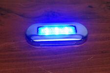 """# RV MARINE BOAT TRAILER LED BLUE OBLONG SHAPE COURTESY LIGHT 3""""BY1.25"""" S.S, RIM"""
