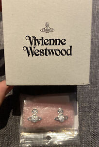 Vivienne Westwood Orbos Stud Earring Small Rhodium White CZ NEW
