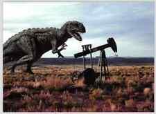 Vintage Dinosaur Postcard: Fierce Ceratosaurus in Abandoned Oil Field