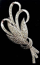 Vintage Silver Tone Sphinx Marcasite Leaf Spray Brooch, Costume Jewelry Pin