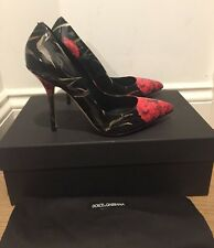 Dolce and Gabbana Floral Leather Court Shoes Pumps Heels Black/Red UK 6/EU 39 BN