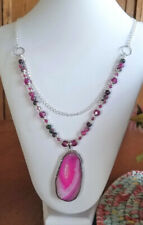"*JUBILEE* FUCHSIA DYED DRUZY JADE CRYSTAL SILVER-TONE 26"" NECKLACE"