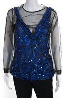 Dries Van Noten Womens Mesh Sequin Long Sleeve Blouse Blue Size EU 38