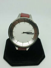 ladies monol of denmark silver tone watch,white face,black hands,puple strap.#bb