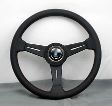 Nardi Classic Steering Wheel 340 mm Black Perf. Leather with Red Stitching