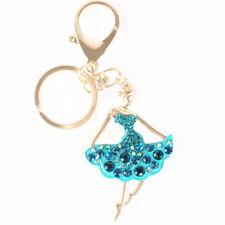 B Ballet Blue Dancing Girl Lady Pendant Charm Crystal Purse Bag Key Ring Chain