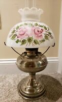 Antique 1905 RAYO Socony Victorian Nickel GWTW Kerosene Oil Table Lamp w/ Shade
