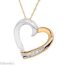Diamond Heart Pendant 0.19 Carat tw in 14K White and Yellow Gold JP:5668