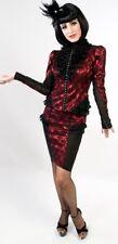 *Lip Service Rare Vaudeville Vamps Red/Black Lace Mesh Knee Skirt Goth Pinup XL