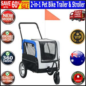 vidaXL 2-in-1 Pet Bike Trailer & Jogging Stroller Grey and Blue Oxford fabric