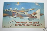 WOW WWII USAF Post Card Air Force Gunner Pilot Bomber Production Painter RARE