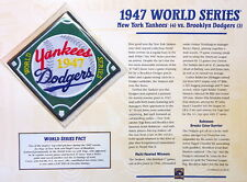 1947 WORLD SERIES PATCH CARD Willabee & Ward NEW YORK YANKEES / BROOKLYN DODGERS