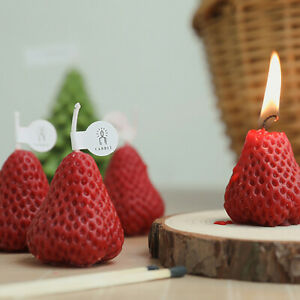 4x Strawberry Aromatic Candles Soy Wax Pumpkin Scented Birthday Wedding Cheese