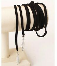 BOHO BLACK LEATHER ROPE CHOKER BOHEMIA NECK WRAP TIE LACE UP CORD NECKLACE KIM