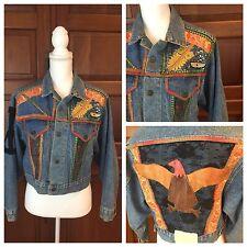 Vintage Denim Jean Jacket Leather Patch Paint Metallic Trim & Patches Size Large