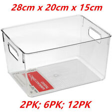 Large Crystal Clear Plastic Container w Carry Handle Fridge Pantry Storage 28cm