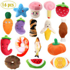 16 Pack Dog Squeaky Toys Cute Plush Fruit Vegetable Interactive Training Toys