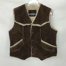 Vtg Jc Penney Mens Vest Brown Suede Leather Sherpa Trim And Lining Snap Front Xl