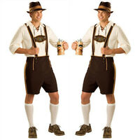 Mens Bavarian Beer Guy Oktoberfest Fancy Dress Costume German Lederhosen Fashion