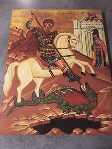 ICÔNE religieuse orthodoxe byzantine sur bois Représentation De Saint Georges
