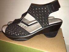 Store Rtn-Womens 9M Jambu Butterfly Gen Leather Wedge T-Strap Pump Sandal- Black