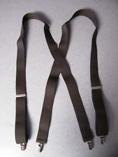 Solid Color Brown 54 inch Strong Jaw Clips clamp on suspenders 1.5 inch wide