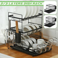 2-Tiers Dish Drainer Rack Plate Bowl Cutlery Sink Tool Holder Dry Stand Kitchen