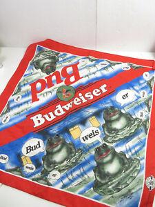 Vintage 1995 Bud Budweiser Frog Advertising Beer Scarf Bandana Handkerchief
