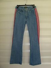 Paris Blues Women's/Juniors Size 5 Red & White Striped Leg Flare Jeans (26 x 31)