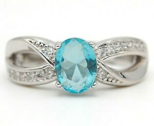 1CT Aquamarine & Topaz 925 Solid Sterling Silver Ring Jewelry Sz 6, M7