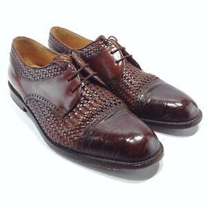 MEZLAN Men's Genuine Crocodile Woven Cap Toe Size 8.5M Brown Lace Up Oxfords EUC