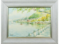 Continental / Italian Lakeside Landscape  - Original Vintage 20th C Watercolour