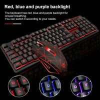 LED Backlit Ergonomic Wired Gaming Keyboard & Mouse For PC Laptop PS4 Xbox Win10