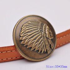 """2X 1-3/8"""" Autique Brass Southwest Indian Chief Leathercraft Saddles Tack Conchos"""